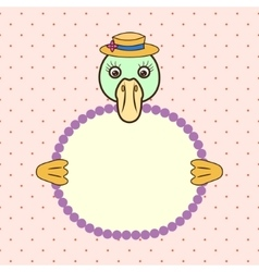 Duck holding banner card in paws birthday vector