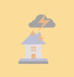 Flat icon on stylish background lightning house vector