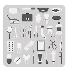 flat icons dental set vector image