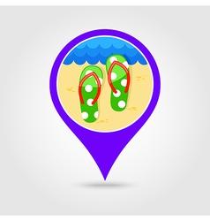 Flip flops pin map icon summer vacation vector