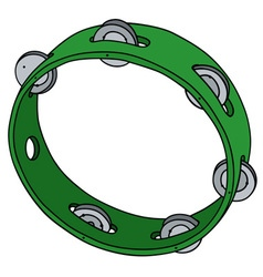 Green plastic tambourine vector