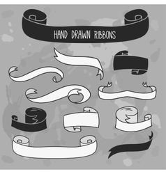 Hand drawn ribbons set banners on grunge vector