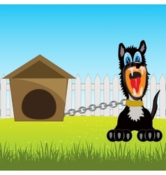 Irritating dog on chain vector image vector image