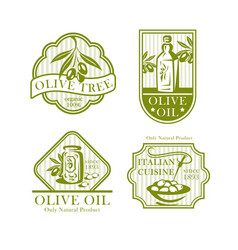 Olive oil icons for olives product labels vector