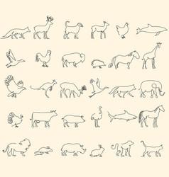one line animals set logos stock vector image