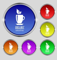 Organic natural tea icon sign Round symbol on vector image