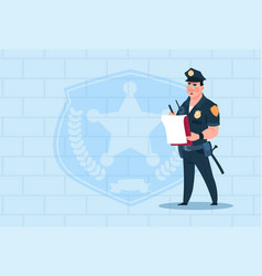 Policeman writing report wearing uniform cop guard vector