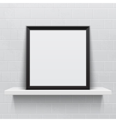 Realistic picture frame on white realistic shelf vector image