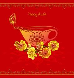Red happy diwali design vector