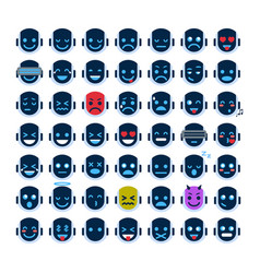 Robot face icons set smiling faces different vector