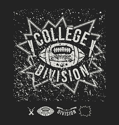Rugby emblem college division and design elements vector