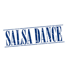 Salsa dance blue grunge vintage stamp isolated on vector