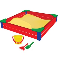 Sandbox wih baby toys vector