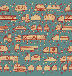 Seamless pattern with fun cartoon transport vector