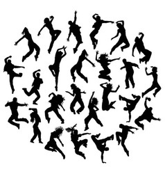 Silhouette modern dance hip hop and street dancer vector