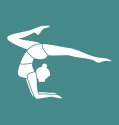 Silhouette of gymnastic pose yoga posture vector