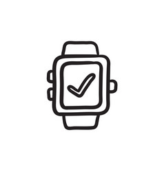 Smartwatch with check sign sketch icon vector