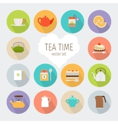 Tea flat icons vector