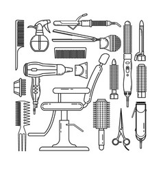 thin line set of hairdresser objects isolated on vector image