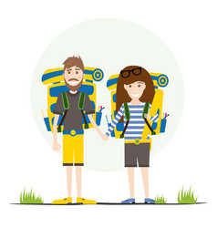 Tourists with backpacks isolated on white vector