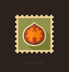 Walnut flat stamp fruit nut vector