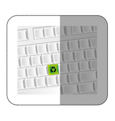 White computer keyboard with recycle symbol icon vector