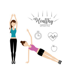 women healthy lifestyle to do exercise vector image