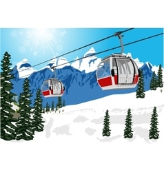 Wonderful winter scenery with ski lift cable booth vector