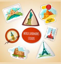 World Landmarks Stickers vector image