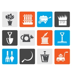 Flat Garden and gardening tools icons vector image