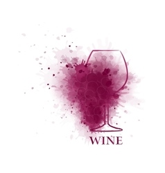 red wine glass icon with grape vector image