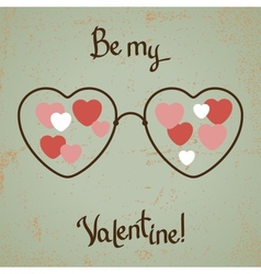 Valentine card with glasses heart Vintage design vector image