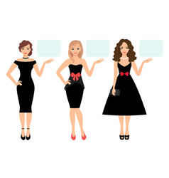 women in black dress presenting product vector image