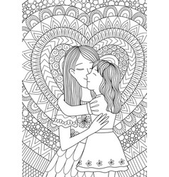 Mother kissing daughter vector