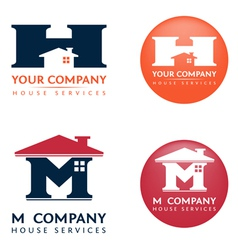 M h house logo vector