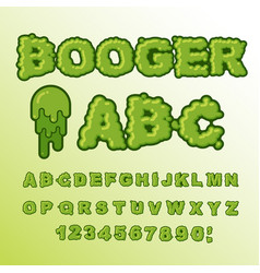 Booger abc green slime letters snot font snivel vector