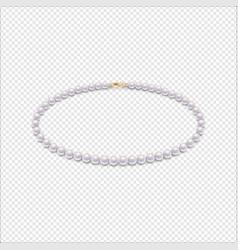 Realistic pearl necklace icon closeup vector