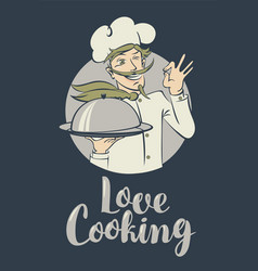 banner with words love cooking and winking chef vector image