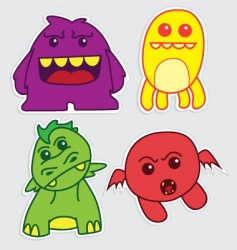 Cartoon monster stickers vector
