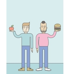 Men standing with hamburger and apple vector