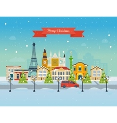 Travel to europe for christmas merry christmas vector