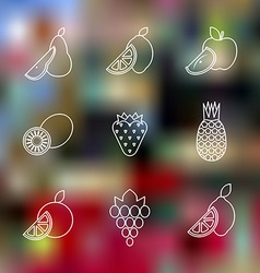 Outline various fruits icons blurred background vector