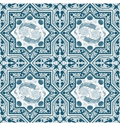 Arabic Blue Seamless Pattern with fish and lotus vector image