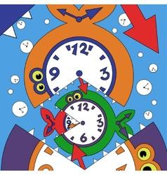Abstract clock fish vector