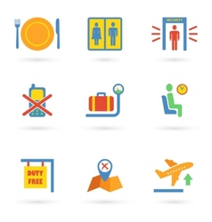 Airport Icons Flat vector image
