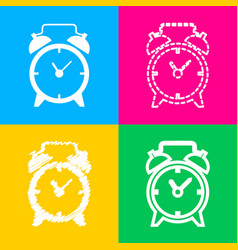 Alarm clock sign four styles of icon on four vector