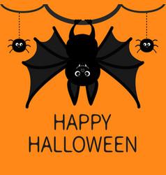Bat hanging spider dash line web happy halloween vector