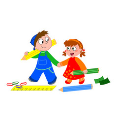 Boy and girl with crayons and ruler vector