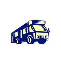 Camper van motor home woodcut vector