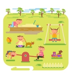 Children play outdoors vector